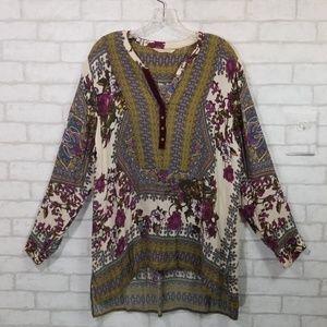 Soft surroundings floral high/low hem blouse XL